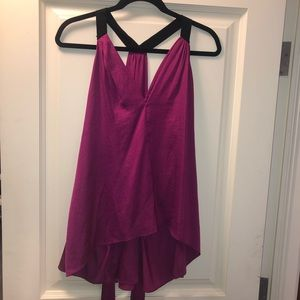 BCBG Purple Silk Tie Top